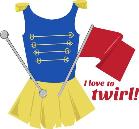 competitive sport: Boost your teams spirit in this majorette uniform and gear.  This costume graphic is great for cheer bags Illustration