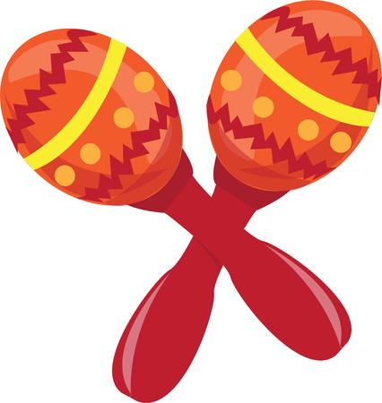 maraca: These colorful maracas add the Latin beat.  The delicate percussion creates a sound sure to make you dance.