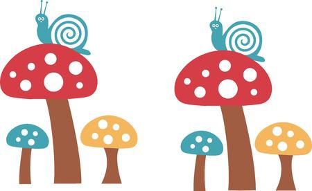 gastropod: Little mushrooms with a swirly snail can be part of a trendy dcor statement.  We love the polka dots that make the rooms super trendy