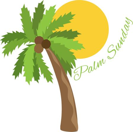 await: Tropical breezes and sunshine await the adventurer.  Add this palm tree design to bags or shirts with a travel theme. Illustration