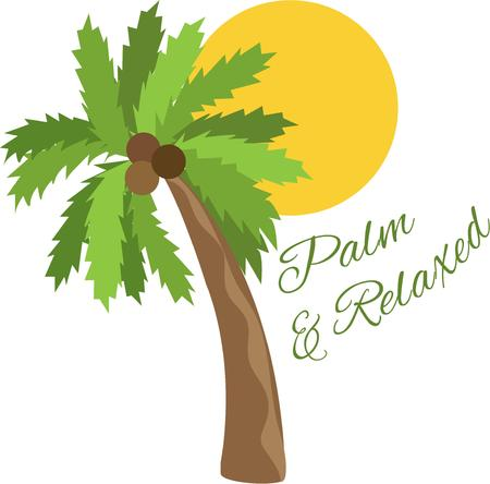 adventurer: Tropical breezes and sunshine await the adventurer.  Add this palm tree design to bags or shirts with a travel theme. Illustration