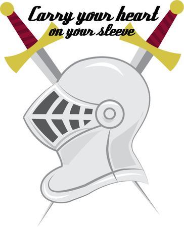crossed swords: Su caballero de brillante armadura le espera. Espadas cruzadas detr�s hacen este dise�o medieval un emblema para decoradores excepcionales. Vectores