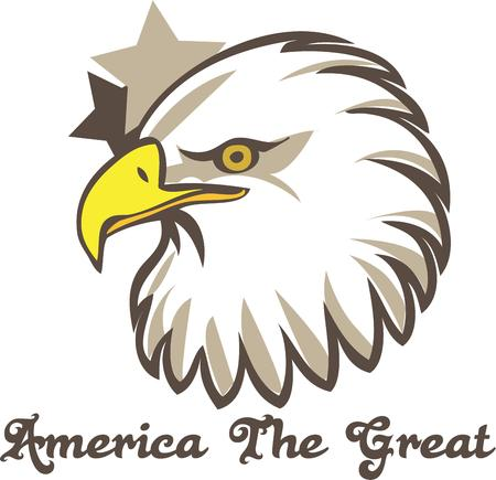 recognized: The American bald eagle is a instantly recognized symbol.  This eagle design is a great way to decorate patriotic gear for school or celebrations.
