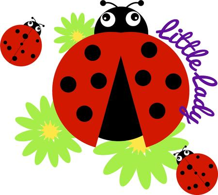 provide: Ladybugs and flowers provide their own ray of sunshine to your project.  This mom and baby can transform a plain shirt to a favorite shirt Illustration