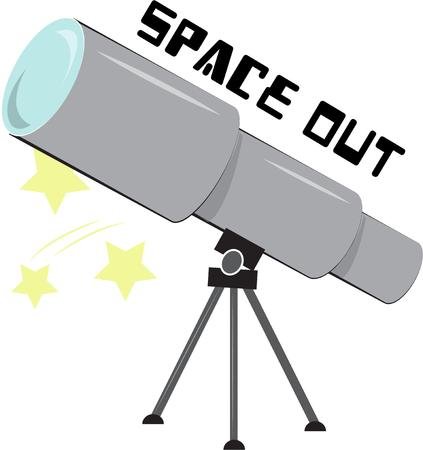 gazer: Search for the stars with this giant telescope.  This design adds a special flair for your favorite star gazer. Illustration