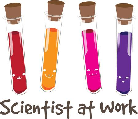 await: Science discoveries await the young scientist.  These colorful vials contain the perfect elements to create something amazing for your budding scientist. Illustration