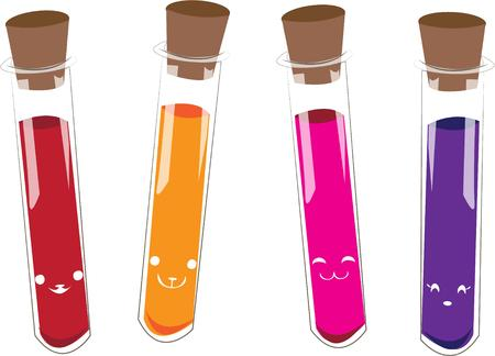 vials: Science discoveries await the young scientist.  These colorful vials contain the perfect elements to create something amazing for your budding scientist. Illustration