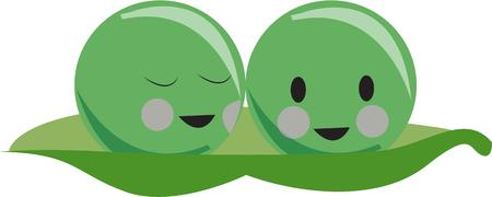 garden peas: Whats more alike than two peas in a pod.  Perfect design for best friends or twins who are best friends. Illustration