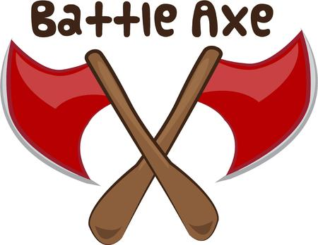 axes: These medieval axes are a menacing weapon.  Great for team mascot artThese medieval axes are a menacing weapon.  Great for team mascot art Illustration