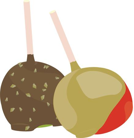 dipped: Apples dipped in caramel and chocolate are an autumn treat.  Add this treat to your fall decorating. Illustration