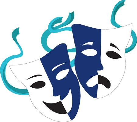 stunning: Create the perfect theatre promotion with these drama masks.  Lovely tones of blue create a stunning effect. Illustration
