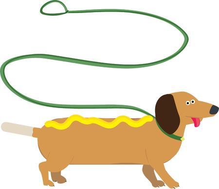 pup: Hot diggity dog  Heres a fun pup with a happy greeting.  This wiener dog is a cheery addition anytime you need to add a smile. Illustration