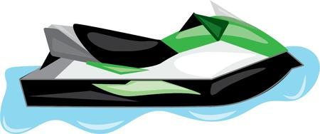 water jet: The fastest and most fun water craft on the lake is a jet ski.  Catch a wave with this fun filled design.