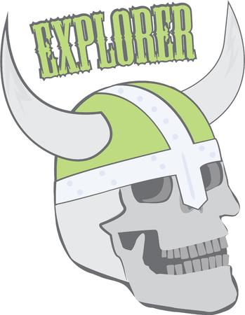 norseman: The Norseman wears a helmet with horns.  He must have been a true Viking.  So many fun ways to use this design. Illustration
