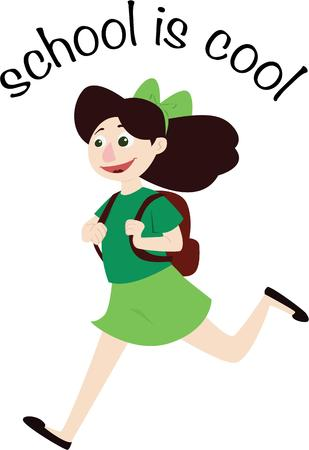 show time: School time is cool time  Show your love for your school with this happy school girl stitched on your apparel