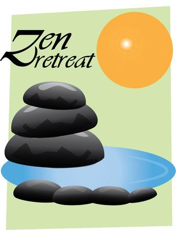 rekolekcje: Utwórz zen rekolekcje z tego wyjątkowego i przemyślany projekt. Kamienie i woda stworzyć nastrój relaksu i spokoju dla jogi studio. Ilustracja