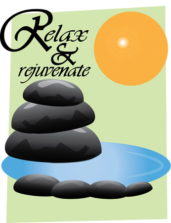 둥근 돌: Create a zen retreat with this unique and thoughtful design.  The stones and water create a mood of relaxation and calm for your yoga studio. 일러스트
