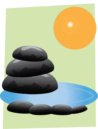 retreat: Create a zen retreat with this unique and thoughtful design.  The stones and water create a mood of relaxation and calm for your yoga studio. Illustration