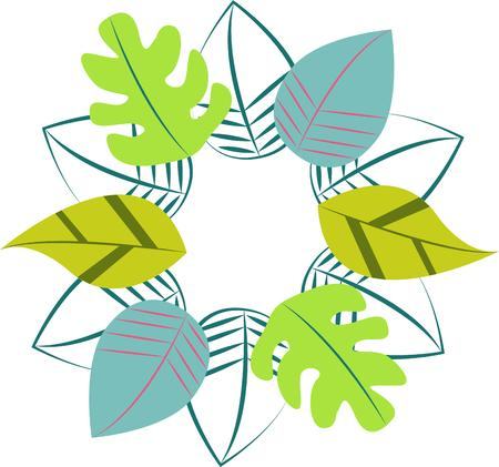 masterpiece: A wreath of leaves creates a masterpiece from nature.  It incorporates leaves from several kinds of trees for a well rounded look. Illustration
