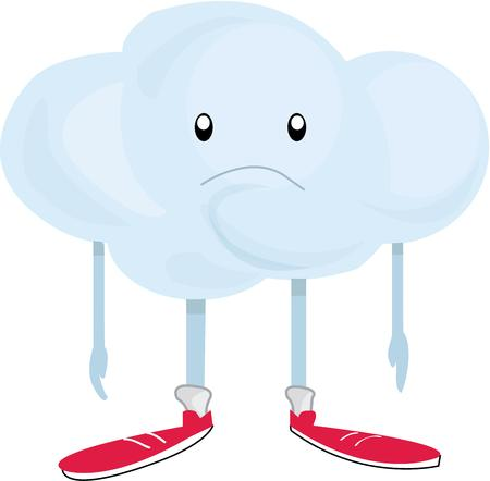 dreary: This rain cloud brings a dreary day.  He is a great graphic for a weather chart.