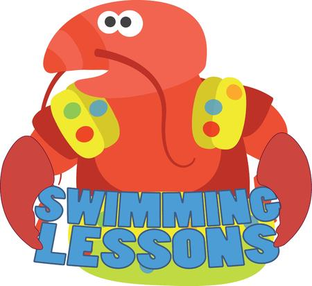 langouste: This little lobster needs a little help with swimming.  All decked out in floaties he is a sweet swimming companion for any kid gear. Illustration
