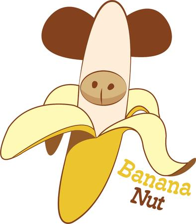 monkey nut: Look close.  There is a little monkey hiding in this banana  He is a nut for bananas