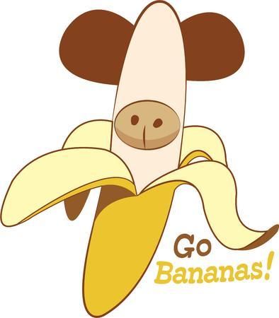 weegbree: Kijk dicht. Er is een kleine aap verstoppen in dit bananen Hij is een moer voor bananen