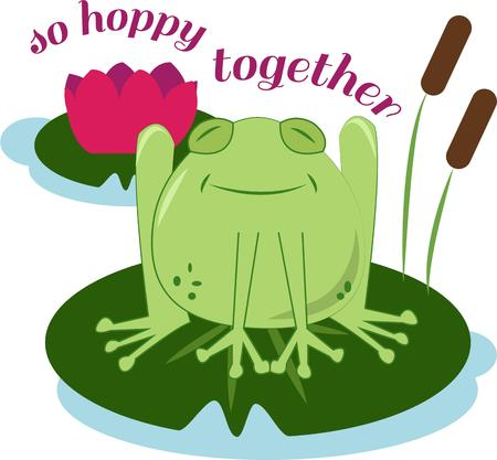 lily pad: This happy frog sits atop his lily pad throne.  He is so cute on kid gear