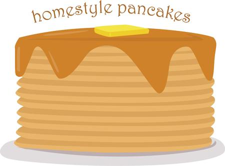 syrup: This is the biggest stack of pancakes ever  Yummy with syrup and a bit of butter they are a tasteful decoration for your kitchen gear.