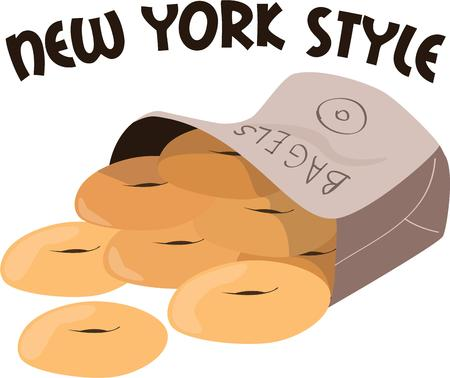bagels: Bagels are a breakfast favorite.  Bring this sack of bagels onto your breakfast projects. Illustration