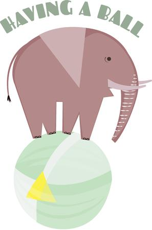 pachyderm: This elephant has an unusual trick.  He must be in the circus  Fun for any circus or animal themed gear.