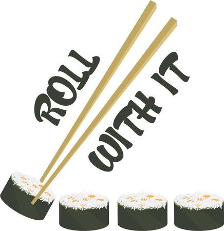 chop stick: Yummy sushi  California rolls for all served with a chop stick.  A favorite.