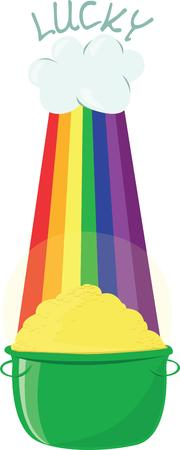 the end of a rainbow: Hemos encontrado el oro al final del arco iris Esto es s�lo la decoraci�n que usted necesita para el evento de d�a de su St Patty. Vectores