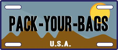 car plate: Pack your bags to hit the road with this specialty license plate.  This fun graphic is especially fun for vacation gear.