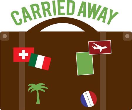 reiste: Diese weit gereist Koffer hat �berall gewesen. Diese Grafik ist ideal f�r Reiseb�ros oder Weltreisende.