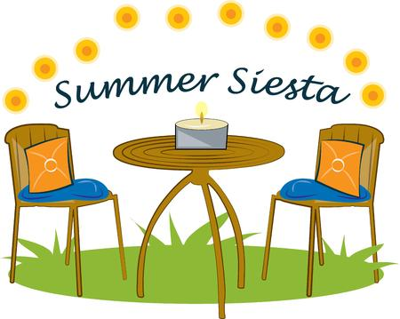 flame letters: A lovely summer garden table awaits.  This inviting outdoor table adds summer is lovely for party decoration or invitation. Illustration