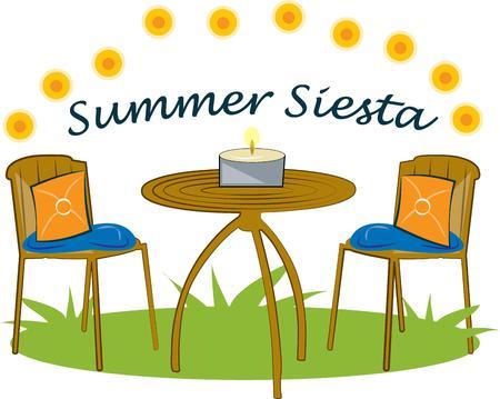 zomertuin: Een mooie zomer tuintafel wacht. Dit uitnodigende outdoor tafel voegt zomer is heerlijk voor partij decoratie of uitnodiging. Stock Illustratie
