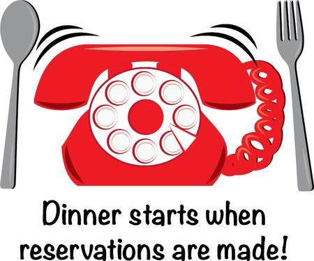 take out: The best thing to make for dinner - reservations of course!  This phone and silverware design is perfect for take out menus or fun kitchen linens. Illustration