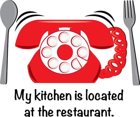 reservations: The best thing to make for dinner  reservations of course  This phone and silverware design is perfect for take out menus or fun kitchen linens. Illustration