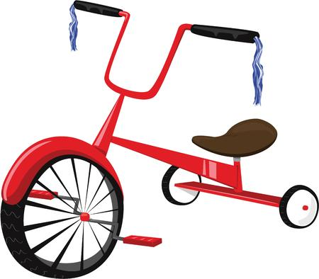 three wheeler: The little peoples first mode of transportation  a tricycle.  Handle bar tassels help make this a super bike