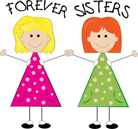 best friends forever: These two little stick girls are cute as they can be and best friends forever They are a cute accent for little girl apparel. Illustration