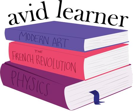 periodical: Learning never stops and reading instills knowledge.  Recognize the amazing student in your class with this colorful book design. Illustration