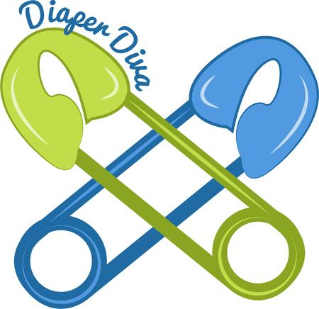 diaper pin: Crossed diaper pins are a super cute way to decorate for the baby shower or create a birth announcement.  The blue and green colors are perfect for boys
