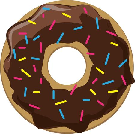 donut shop: The perfect donut is covered and chocolate and sprinkles.  Heres that amazing donut ready to decorate signs for a donut shop or dessert menu. Illustration