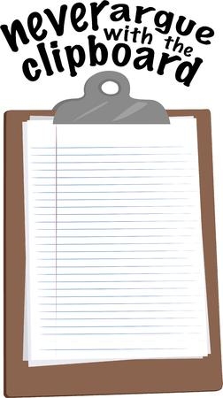 take charge: Take note of this design.  Write your notes and show whos in charge  carry a clipboard Illustration