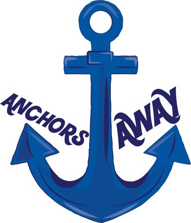 catchy: Anchors are a trendy decoration for apparel and bags.  This anchor comes along with catchy text. Illustration