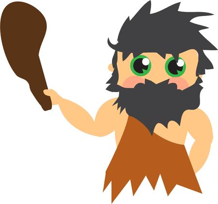hes: No need to fear this cave man  Hes a real cutie. Illustration