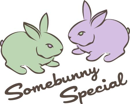 jackrabbit: Two pastel bunnies make a cute spring time statement.  Violet and lime are a lovely color combination.