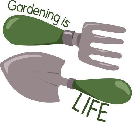 proper: Il tempo per il giardinaggio e che possono tendere loro giardino senza gli strumenti adeguati Questa paletta e rastrello sono solo gli strumenti ogni giardiniere ha bisogno.