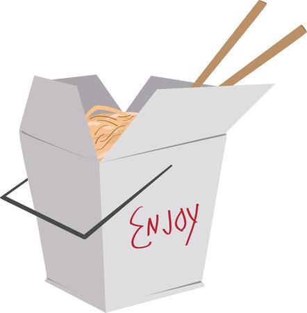 take out food: Chinese take out is best served in the traditional box.  Chopsticks included at no additional cost